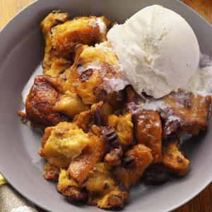 Cinnamon-Raisin Banana Bread Pudding