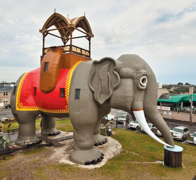 Six-story, elephant-shaped building made of wood and tin