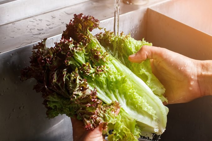 Man's hands washing lettuce leaves. Water flowing on red lettuce.