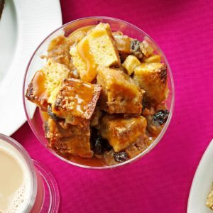 Apple Bread Pudding with Caramel Sauce