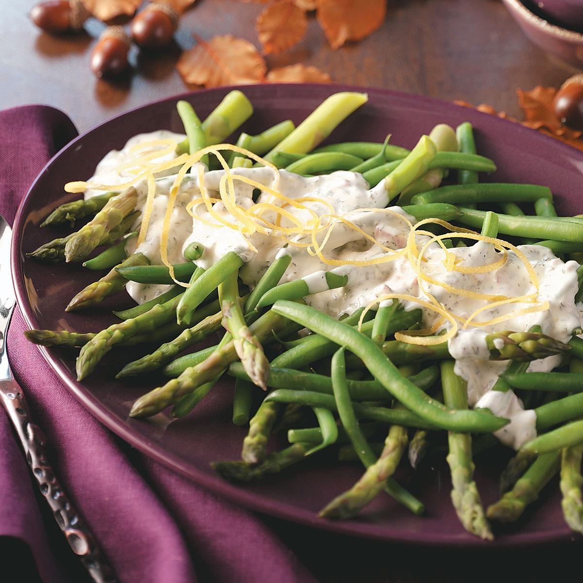 Asparagus And Green Beans With Tarragon Lemon Dip Recipe