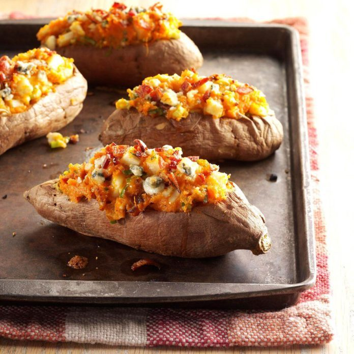 Bacon & Blue Stuffed Sweet Potatoes