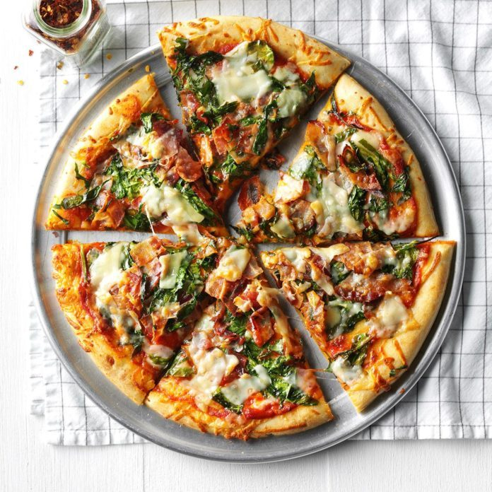 Bacon and Spinach Pizza