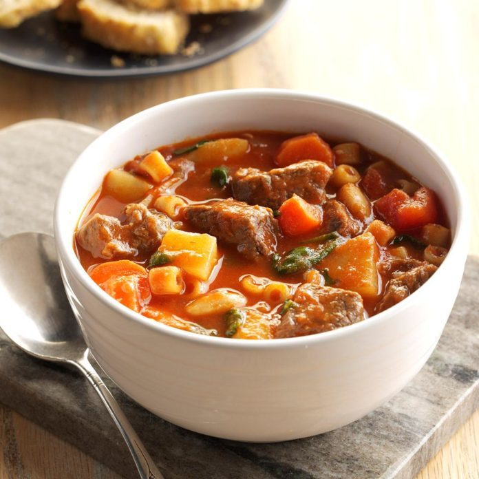 beef stew with pasta recipe taste of home