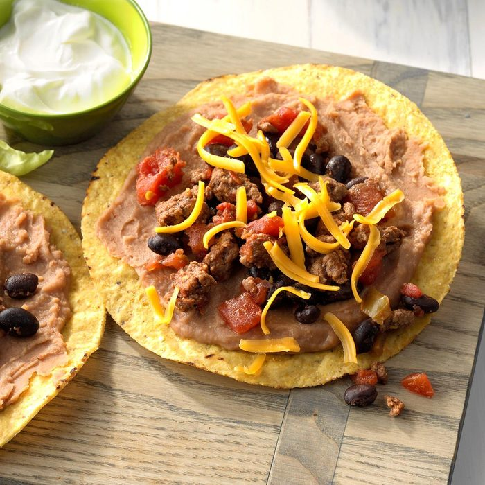 Black beans and beef tostadas