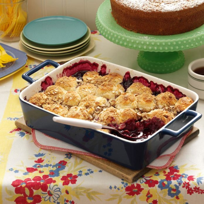 Oregon: Blueberry-Apple Cobbler with Almond Topping