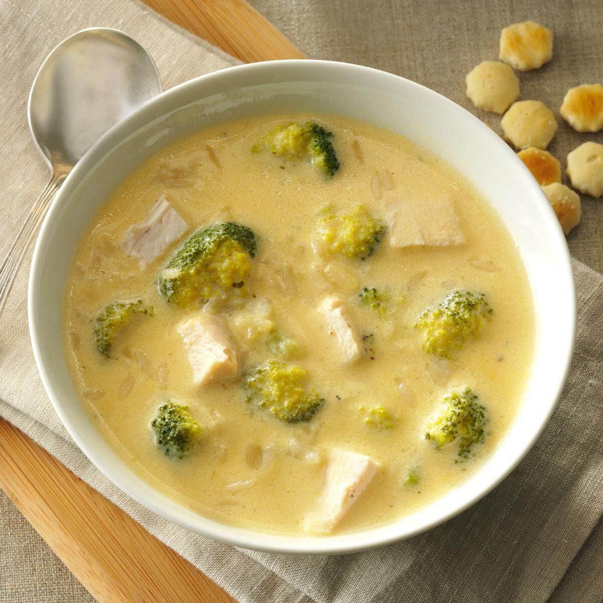 Broccoli Chicken Rice Soup Recipe Taste Of Home