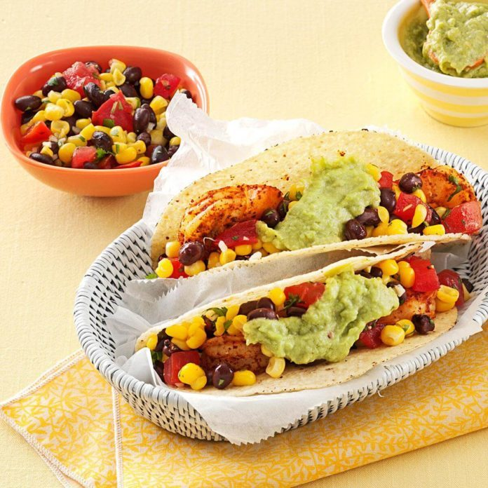 California Shrimp Tacos with Corn Salsa