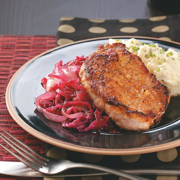 Caraway Pork Chops and Red Cabbage