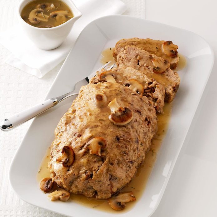 Chicken Loaf with Mushroom Gravy