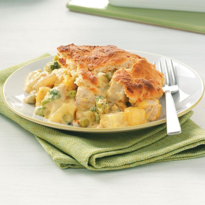 Chicken Potpie With Cheddar Biscuit Topping Recipe Taste Of Home