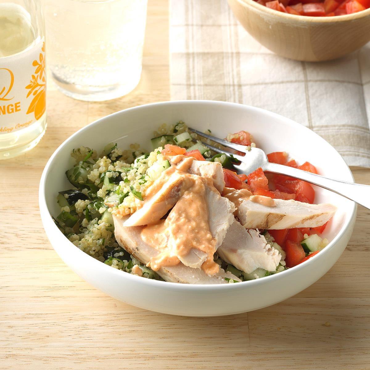 Mediterranean Chicken Quinoa Bowl Recipe: Chicken Quinoa Salad Recipe