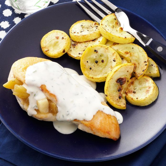 Chicken Rellenos with Cilantro-Lime Cream Sauce