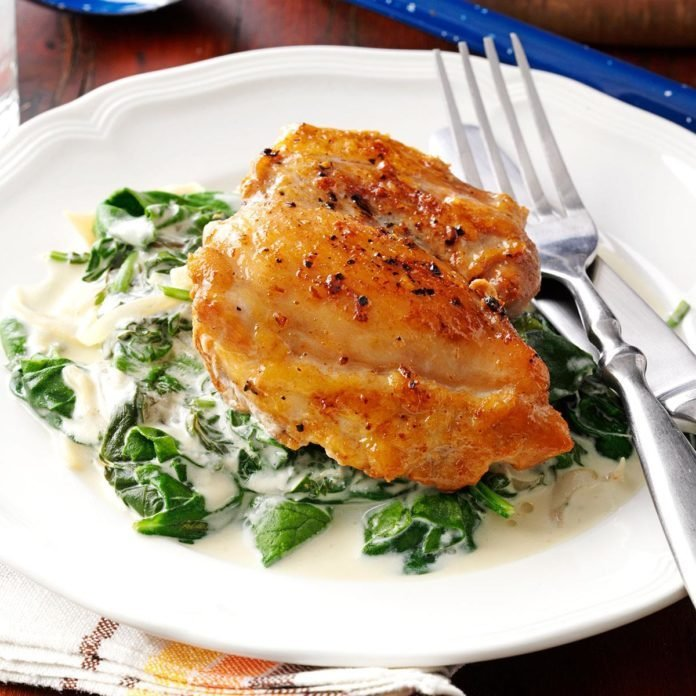 Chicken thighs with shallots spinach recipe taste of home chicken thighs with shallots spinach forumfinder Choice Image
