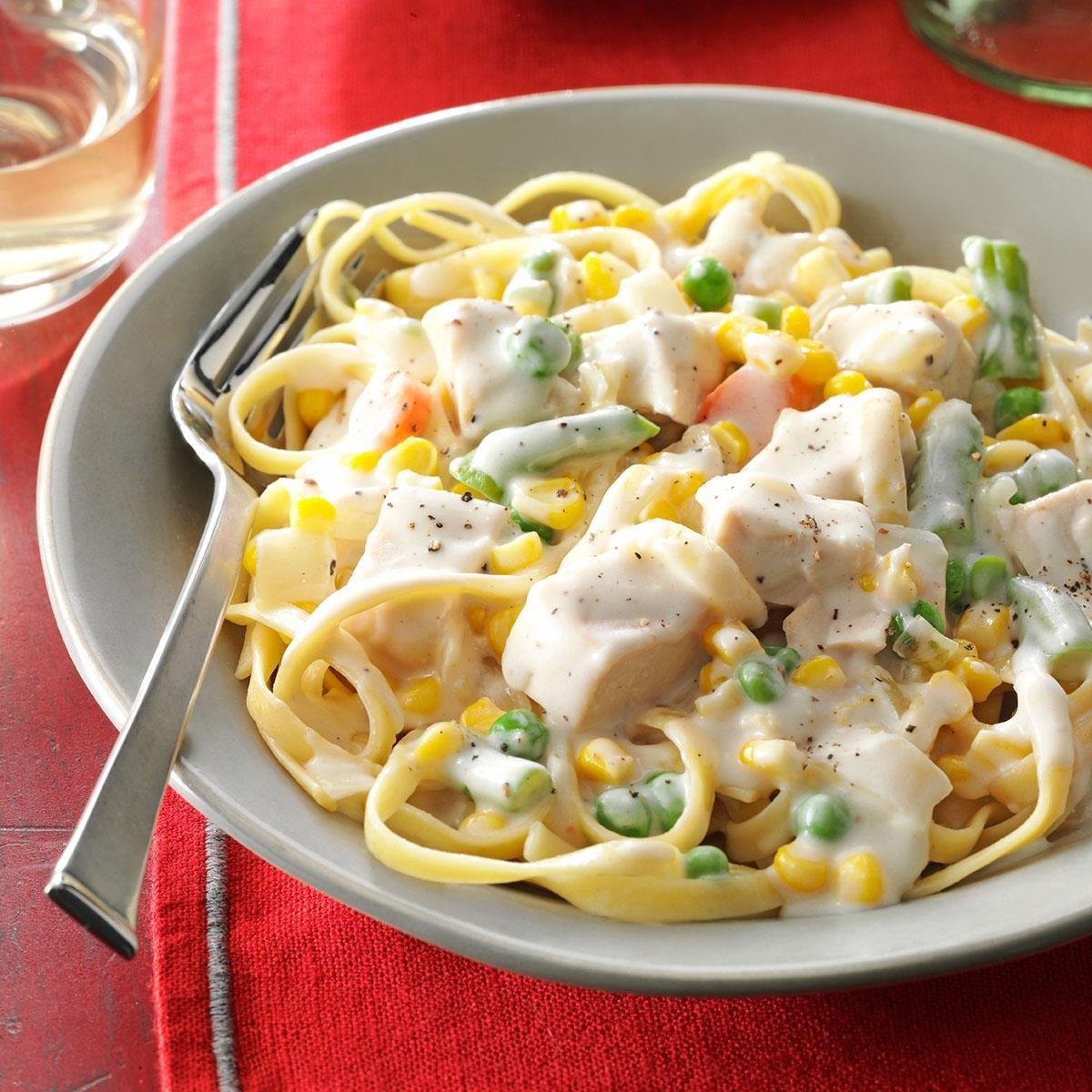 Chicken Amp Vegetable Fettuccine Recipe Taste Of Home