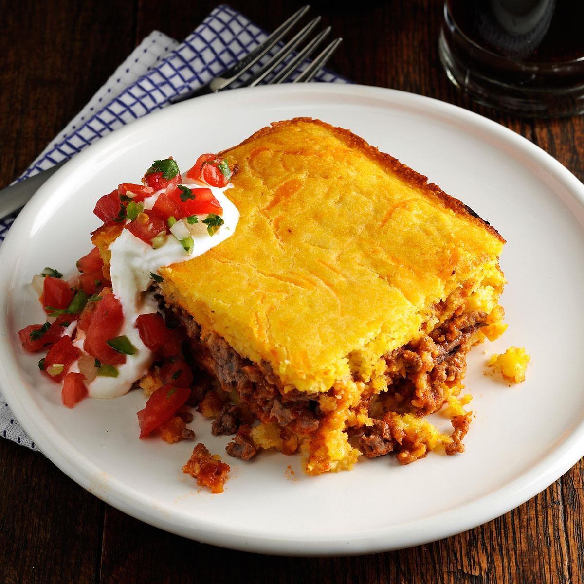 Chili Beef Cornbread Casserole Recipe