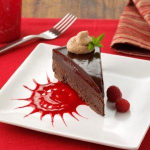 Chocolate Ganache Cake with Raspberry Sauce