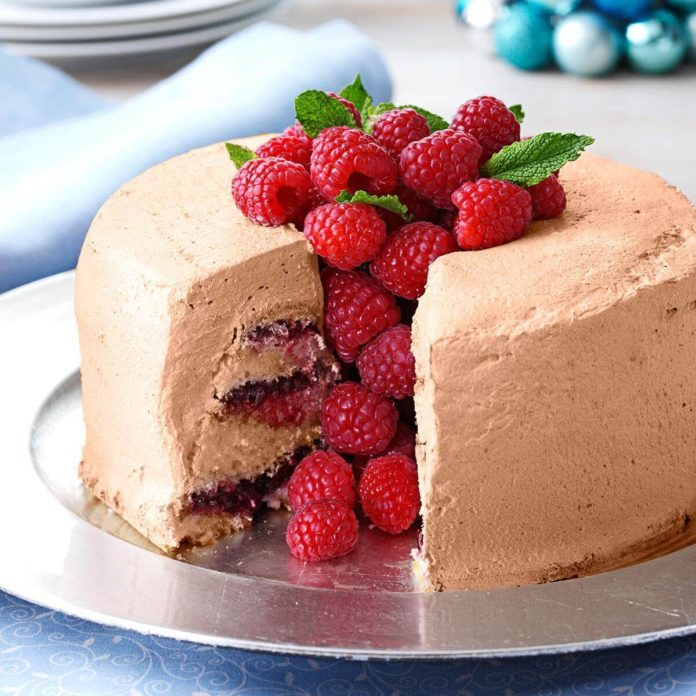 Chocolate-Raspberry Angel Food Torte