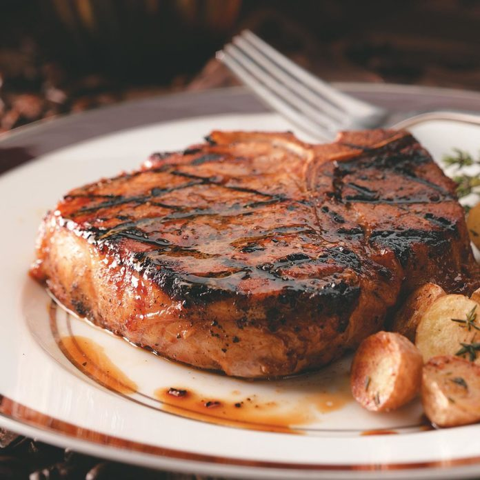 Coffee-Molasses Marinated Pork Chops
