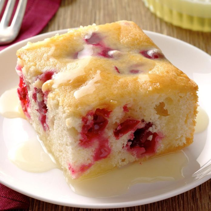 Minnesota: Cranberry Cake with Almond-Butter Sauce