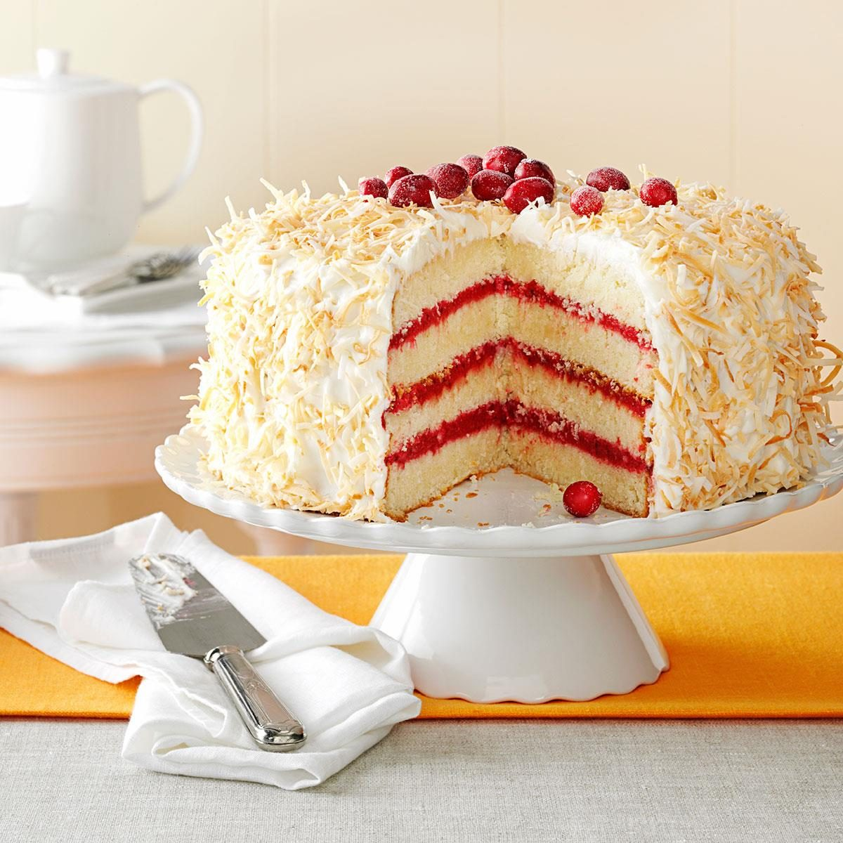 Cranberry Coconut Cake with Marshmallow Cream Frosting