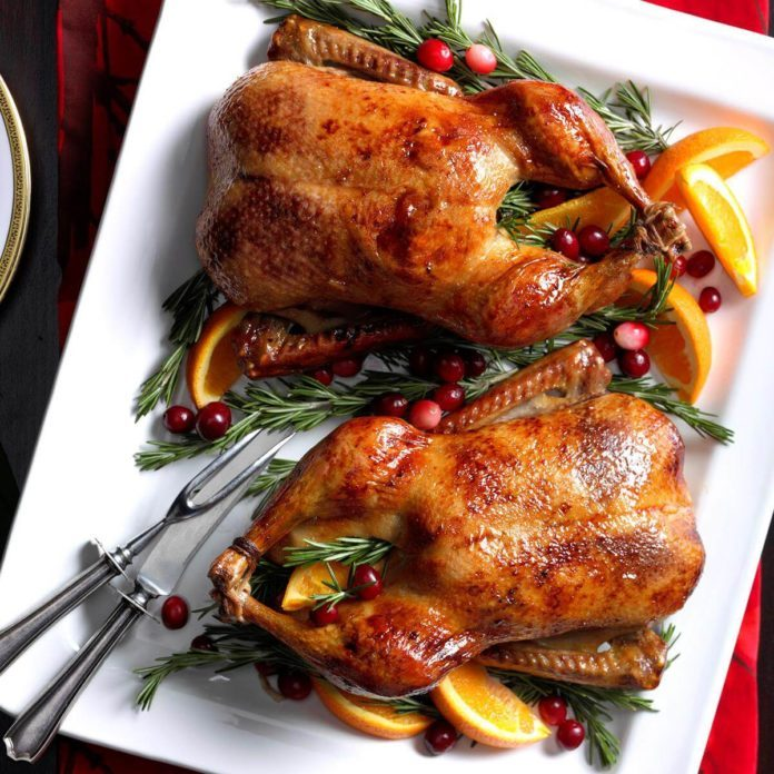 cranberry orange roast ducklings - Traditional Christmas Food