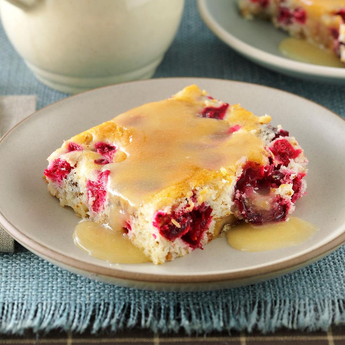 Cranberry-Walnut Cake with Butter Sauce Recipe | Taste of Home