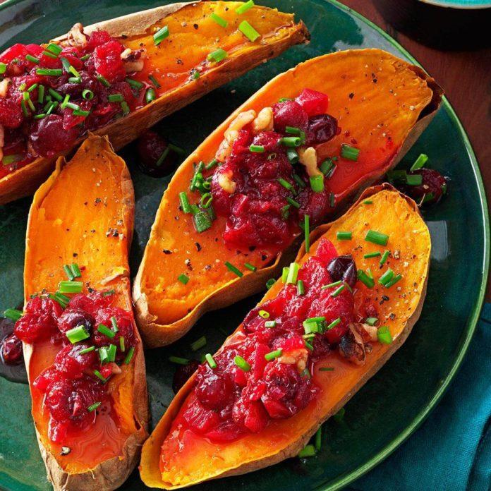 Vegetarian Cranberry-Walnut Sweet Potatoes