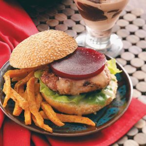Cranburgers with Sweet Potato Fries