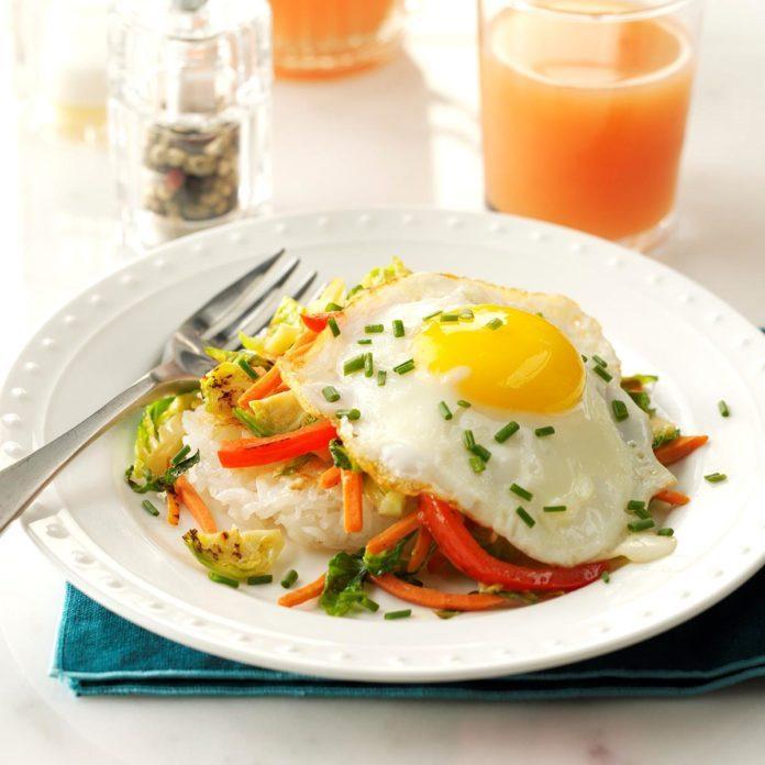 Crispy Rice Patties with Vegetables & Eggs Recipe | Taste of Home