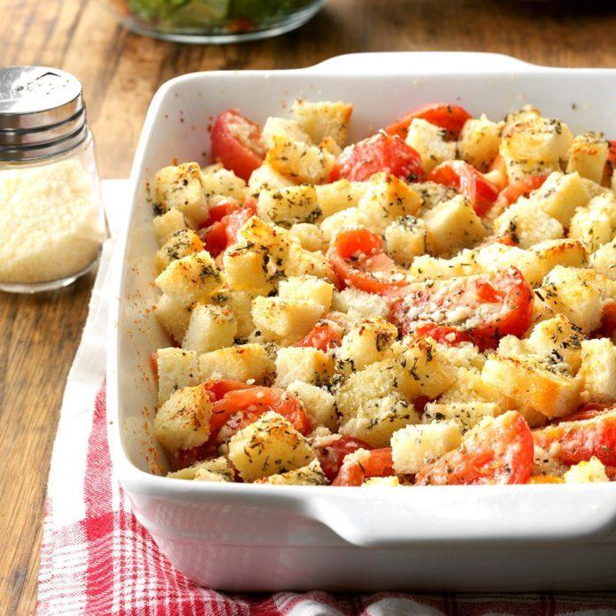 Day 7: Crouton Tomato Casserole