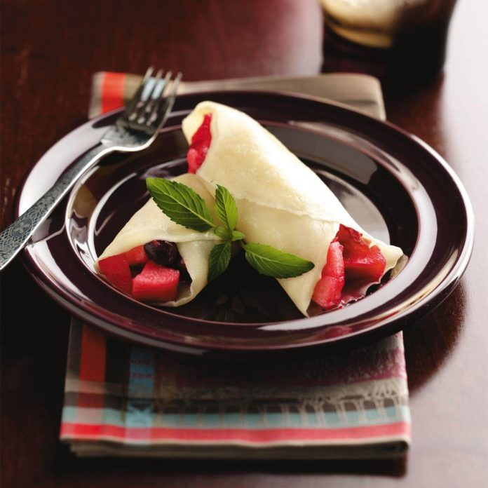 Spiced Apple-Cranberry Crepes