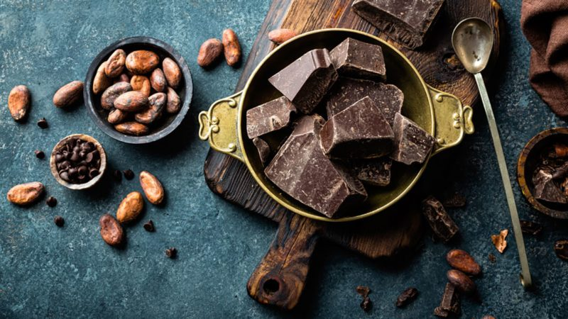 Dark chocolate pieces crushed and cocoa beans