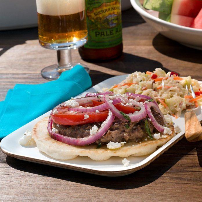 Feta & Tomato-Topped Greek Burgers