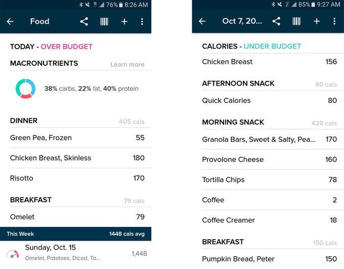 Screenshots of Fitbit calorie tracker app
