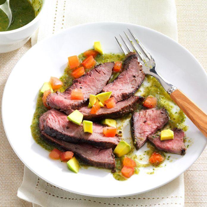 Flank Steak with Cilantro Salsa Verde
