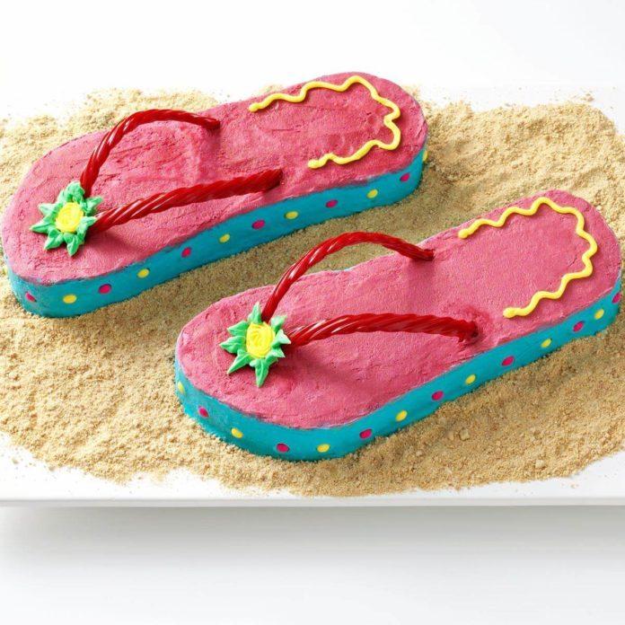 August Birthday: Flip Flop Cakes