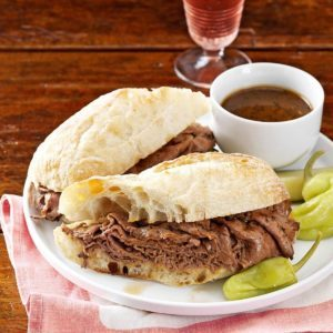 French Dip Subs with Beer Dipping Sauce