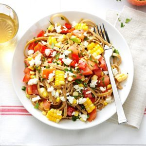 Whole Wheat Fettuccini with Fresh Corn, Tomatoes, Spring Onion, Red Pepper and Feta
