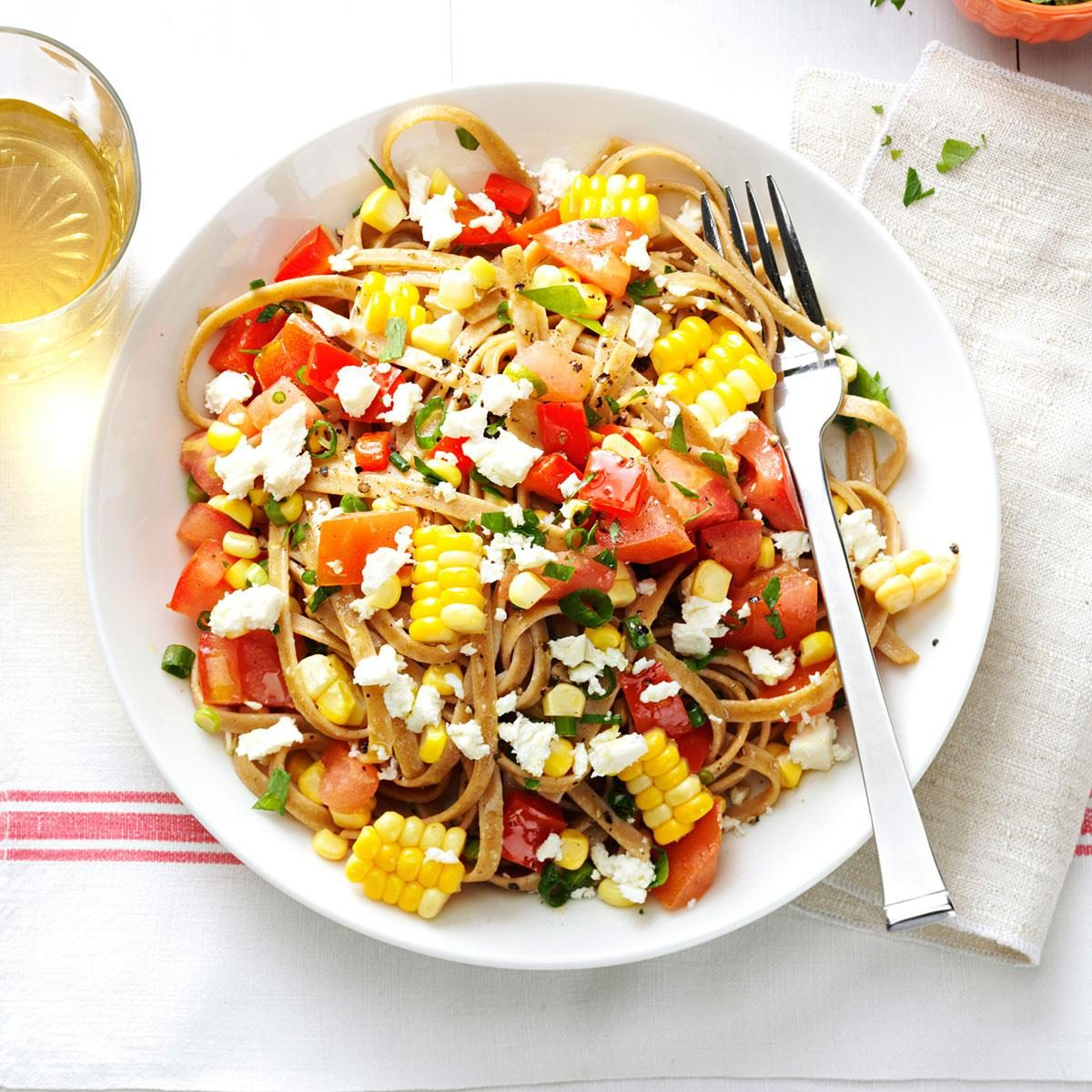 Healthy Dinner Recipes: Whole Wheat Fettuccini With Fresh Corn, Tomatoes, Spring