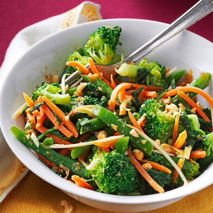Ginger-Sesame Steamed Vegetable Salad