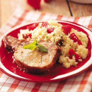 Glazed Pork with Strawberry Couscous