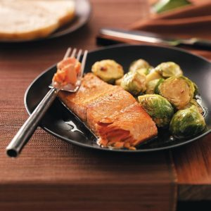 Glazed Salmon with Brussels Sprouts for Two