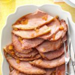 A platter with Glazed Spiral Sliced Ham