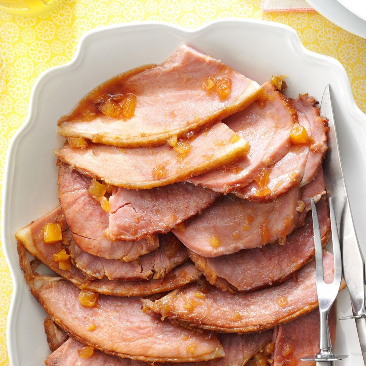 A platter with Glazed Spiral Sliced Ham