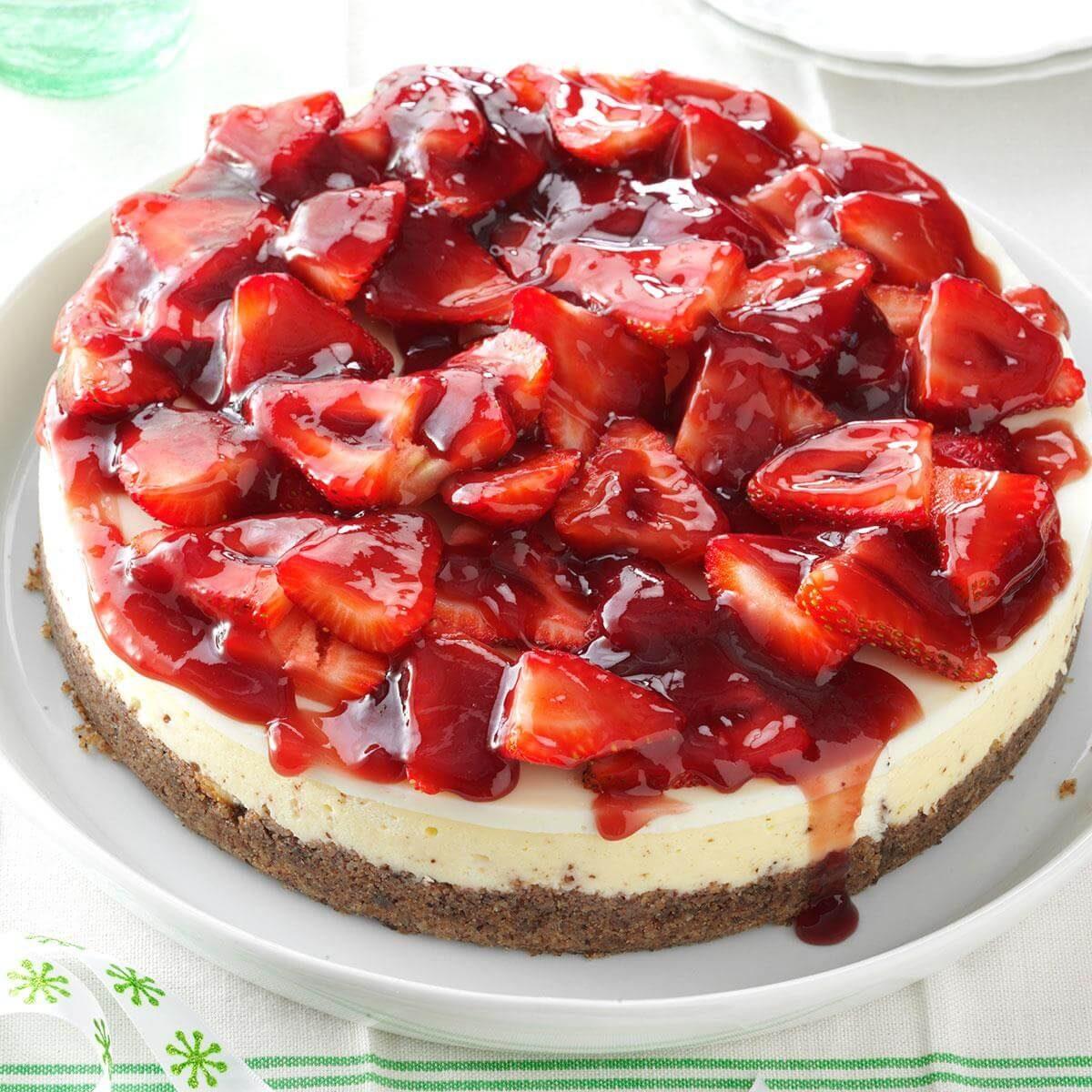 Strawberry Cheesecake Recipe: Glazed Strawberry Cheesecake Recipe