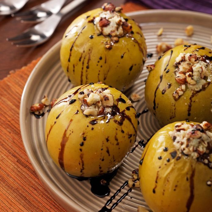 Gorgonzola Baked Apples with Balsamic Syrup