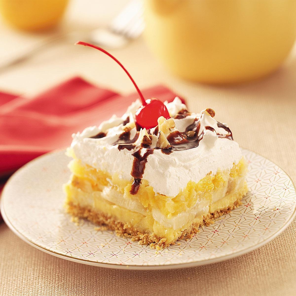 Graham Cracker Banana Split Dessert Recipe