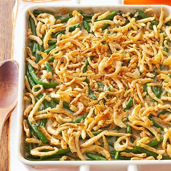 Green bean casserole in a 13x9 dish