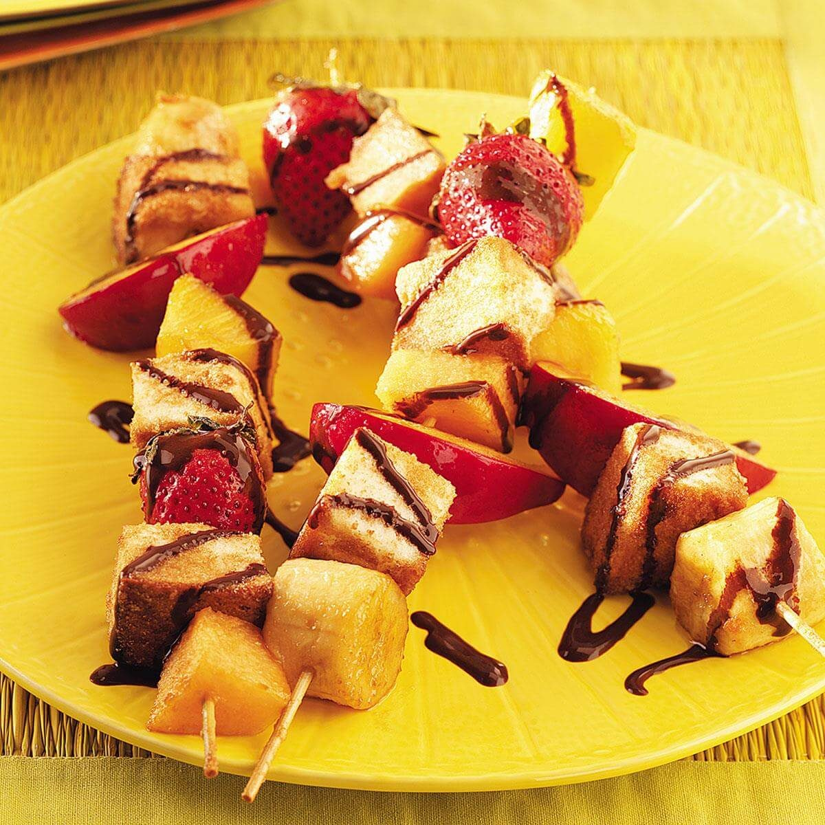 Grilled Fruit Skewers with Chocolate Syrup Recipe | Taste ...